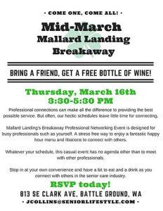 Mid-March Breakaway @ Mallard Landing Assisted Living Community | Battle Ground | Washington | United States