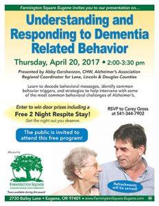 Understanding and Responding to Dementia-Related Behavior @ Farmington Square Eugene   Eugene   Oregon   United States