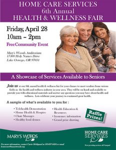 Home Care Services 6th Annual Health and Wellness Fair @ Mary's Woods Auditorium  | Lake Oswego | Oregon | United States
