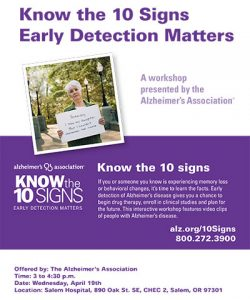 Know the Ten Signs: Early Detection Matters @ Salem Hospital-Building D, CHEC 2   Salem   Oregon   United States