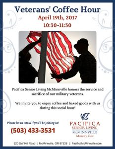 Veterans Coffee Hour @ Pacifica Senior Living McMinnville    McMinnville   Oregon   United States