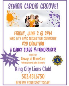 Senior Cardio Groove!  A Dance Class and a Fundraiser @ King City Civic Association Clubhouse  | King City | Oregon | United States