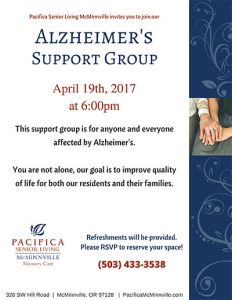 Alzheimers Support Group @ Pacifica Senior Living McMinnville    McMinnville   Oregon   United States