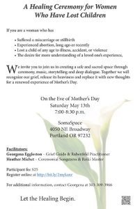 A Healing Ceremony for Women Who Have Lost Children @ SomaSpace | Portland | Oregon | United States