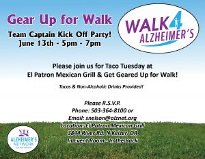 Walk 4 Alzheimer's Team Captain Kick Off Party @ El Patron Mexican Grill | Keizer | Oregon | United States