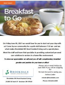 Breakfast to Go @ Brookdale Mt Hood Assisted Living  | Gresham | Oregon | United States