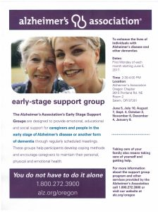 Early Stage Support Group- Alzheimer's Association @ Alzheimer's Association Office- Center 50+ | Salem | Oregon | United States
