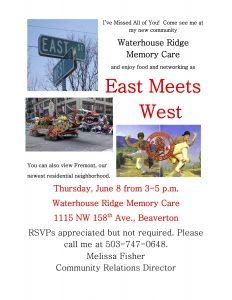 "Waterhouse Ridge Memory Care Presents ""East Meets West"" @ Waterhouse Ridge Memory Care | Beaverton | Oregon | United States"