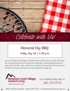 Memorial Day BBQ @ Meadow Creek Village Assisted Living   Salem   Oregon   United States