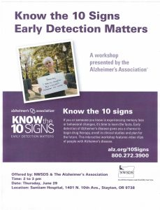 Know the Ten Signs: Early Detection Matters @ Santiam Hospital Auditorium   Stayton   Oregon   United States
