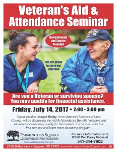 Veteran's Aid & Attendance Seminar @ Farmington Square Eugene | Eugene | Oregon | United States