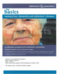 The Basics: Memory Loss, Alzheimer's Disease and Dementia @ West Valley Hospital, Dallas | Dallas | Oregon | United States