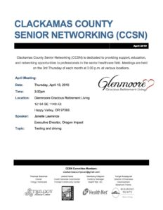 Clackamas County Senior Networking (CCSN) @ Glenmoore Gracious Retirement Living | Happy Valley | Oregon | United States