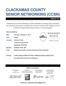 Clackamas County Senior Networking (CCSN) @ Miramont Pointe | Happy Valley | Oregon | United States