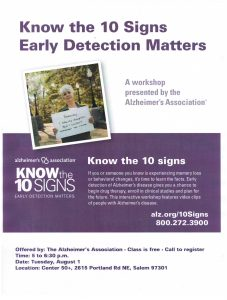 Know the Ten Signs: Early Detection Matters @ Center 50+ | Salem | Oregon | United States