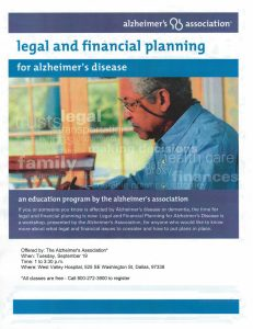 Legal and Financial Planning for Alzheimer's @ West Valley Hospital   Dallas   Oregon   United States