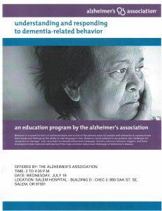 Understanding and Responding to Dementia-Related Behaviors @ Salem Hospital, Building D, CHEC 2 | Salem | Oregon | United States