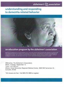 Understanding and Responding to Dementia-Related Behavior @ Good Samaritan Regional Medical Center | Corvallis | Oregon | United States