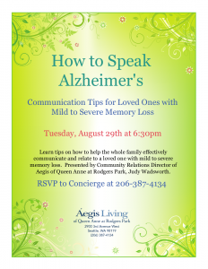 How to Speak Alzheimer's: Communication Tips for Loved Ones with Minor to Severe Memory Loss @ Aegis of Queen Anne at Rodgers Park | Seattle | Washington | United States