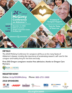 20th Annual McGinty Conference on Alzheimer's @ Oregon Convention Center | Portland | Oregon | United States