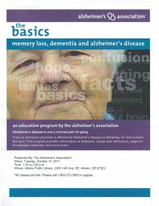 The Basics: Memory loss, Dementia and Alzheimer's Disease @ Albany Public Library    Albany   Oregon   United States