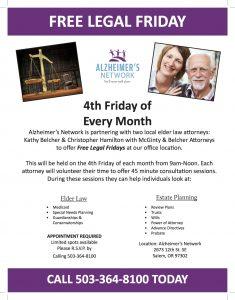 "The Alzheimer's Network presents: ""FREE LEGAL FRIDAY"" @ Alzheimer's Network Office | Salem | Oregon | United States"