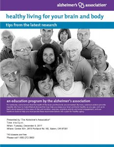 """Healthy Living for Your Brain and Body: Tips from the Latest Research"" presented by the Alzheimer's Association @ Center 50+ 