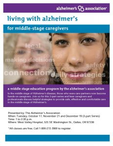 Living with Alzheimer's for Middle-stage Caregivers @ West Valley Hospital  | Dallas | Oregon | United States