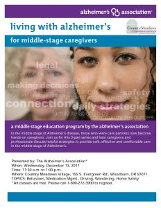 Living with Alzheimer's disease for Middle-Stage Caregivers @ Country Meadows Village   Woodburn   Oregon   United States