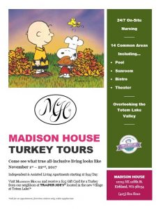 Madison House Turkey Tours @ Madison House Independent and Assisted Living Community | Kirkland | Washington | United States