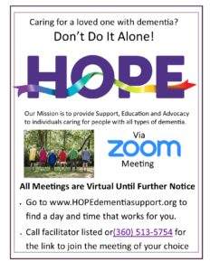 HOPE Dementia Support Group on ZOOM @ ZOOM