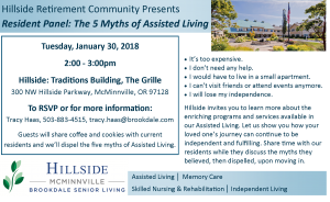 Hillside Resident Panel: The 5 Myths of Assisted Living @ Hillside Retirement Commnuity, Traditions Building | McMinnville | Oregon | United States