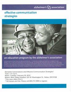 Dementia Conversations/Effective Communication Strategies @ West Valley Hospital | Dallas | Oregon | United States