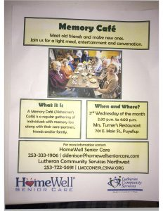 CANCELLED - Memory Café (Alzheimer's Café) @ Mrs. Turner's Restaurant | Puyallup | Washington | United States