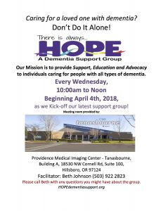 CANCELLED - HOPE Dementia Support Group @ Providence Medical Imaging Center - Tanasbourne | Hillsboro | Oregon | United States