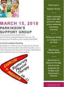 Parkinson's Support Group at Boomerang Therapy Works @ Boomerang Therapy Works  | Vancouver | Washington | United States