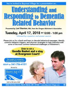 Understanding & Responding to Dementia Related Behavior @ Baycrest Village  | North Bend | Oregon | United States