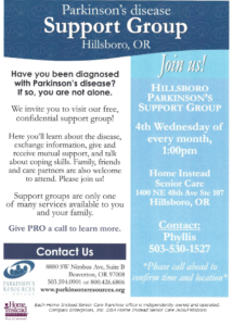 Parkinson's Support Group @ Hillsboro Home Instead Senior Care | Hillsboro | Oregon | United States