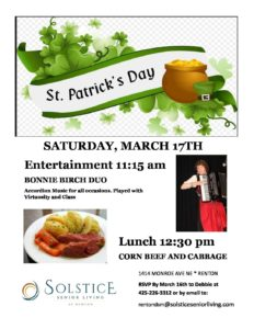 St. Patrick's Day Entertainment, Lunch and Tour @ Solstice Senior Living at Renton | Renton | Washington | United States