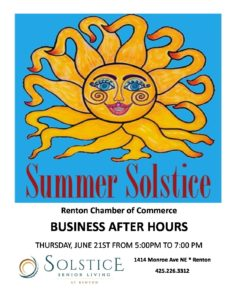 Summer Solstice Business After Hours With The Renton Chamber of Commerce @ Solstice Senior Living At Renton | Renton | Washington | United States