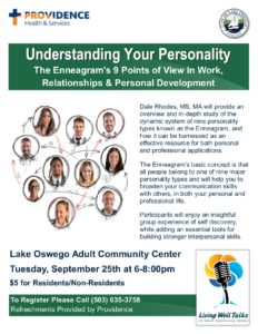 Understanding Your Personality-The Enneagram's 9 Points of View in Work, Relationships & Personal Development @ Lake Oswego Adult Community Center | Lake Oswego | Oregon | United States