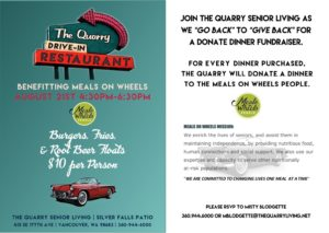 The Quarry Drive-In Restaurant Event for Meals on Wheels @ The Quarry Senior Living | Vancouver | Washington | United States