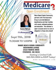 Warm Beach Senior Community presents: Karen Nelson, The Assurance Group - Medicare Open Enrollment @ Warm Beach Senior Community - Beachwood Lounge | Stanwood | Washington | United States