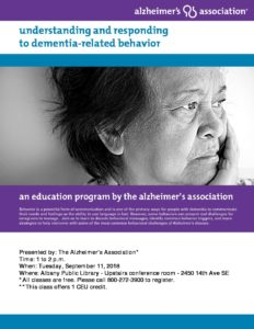 Understanding and Responding to Dementia Related Behavior @ Albany Public Library | Albany | Oregon | United States