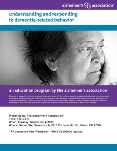 Understanding and Responding to Dementia-Related Behavior @ Center 50+ | Salem | Oregon | United States