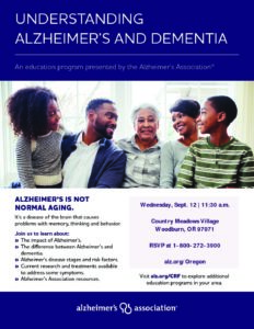 Understanding Alzheimer's and Dementia @ Country Meadows Village | Woodburn | Oregon | United States