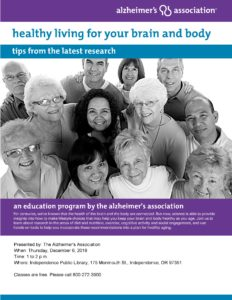 Healthy Living for Brain and Body: Tips from the Latest Research @ Independence Public Library | Independence | Oregon | United States