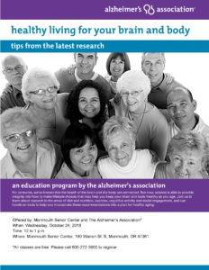 Healthy Living for your Brain and Body: Tips from the Latest Research @ Monmouth Senior Center | Monmouth | Oregon | United States