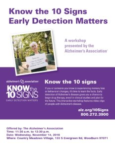 Know the Ten Signs: Early Detection Matters @ Country Meadows Village | Woodburn | Oregon | United States