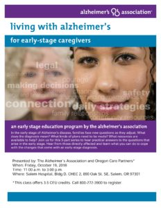 Living with Alzheimer's: For Early-Stage Caregivers @ Salem Hospital, Building D, CHEC 2 | Salem | Oregon | United States